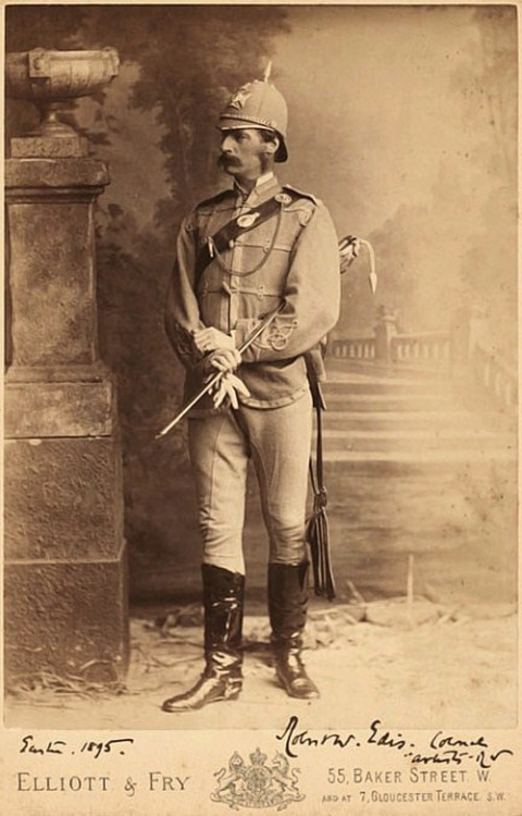 Colonel Sir Robert Edis, along with his formidable stache and pickelhaulbe