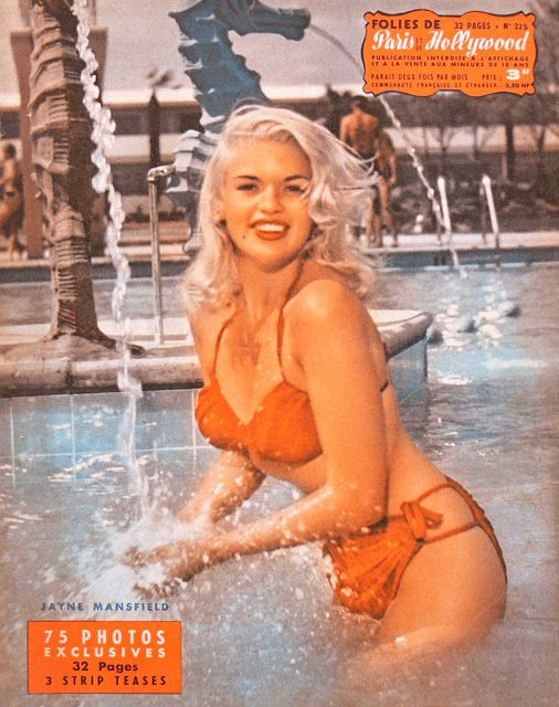 Jayne Mansfield on the cover of Folies de Paris Hollywood, 1950s