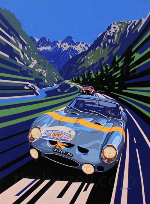 Lucien Bianchi (Ferrari 250 GTO) vainqueur du Tour de France 1960, illustration de TimLayzell