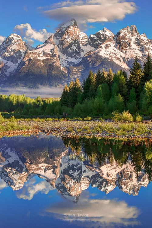 Mountain reflection, photo by Susan Taylor