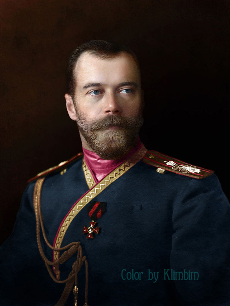 Colourized portrait of Nicholas II, original photo from 1912