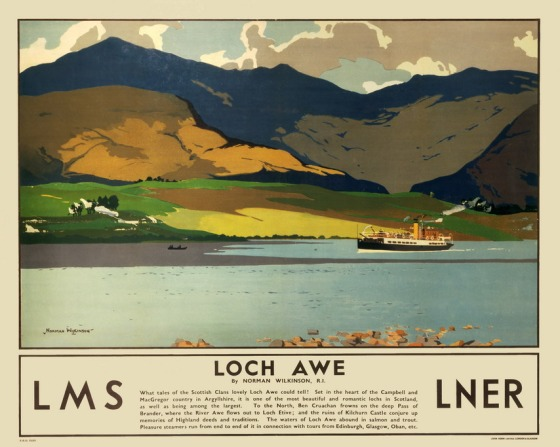 Poster produced for the London, Midland & Scottish Railway (LMS) and the London & North Eastern Railway (LNER), promoting rail travel to Loch Awe in Argyllshire. The image shows a small passenger steamer sailing on the loch, with mountains in the background. Artwork by Norman Wilkinson (1878-1971). Printed by John Horn Ltd, London & Glasgow. Dimensions: 1016mm x 1270mm.