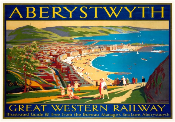 A Great Western Railway travel poster overlooking the beautiful bay. 1923-1947.  Artwork A E Martin.