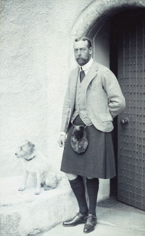 King George V wearing a kilt and furry crotch warmer
