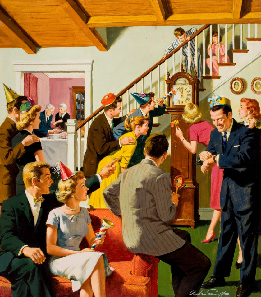 New Year's Pulp Illustration, circa 1950