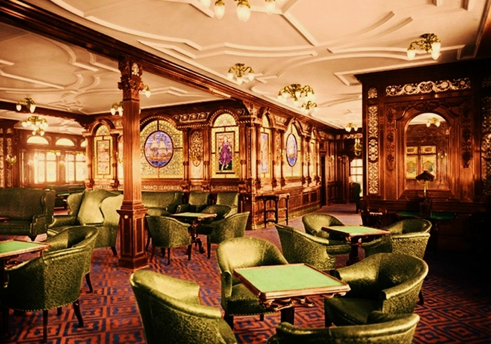 The first class men only smoking lounge gay bar on the Who was on the titanic in first class
