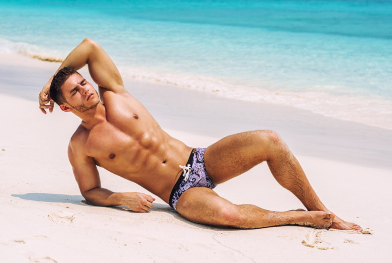 Model Anatoly Goncharov on the beach