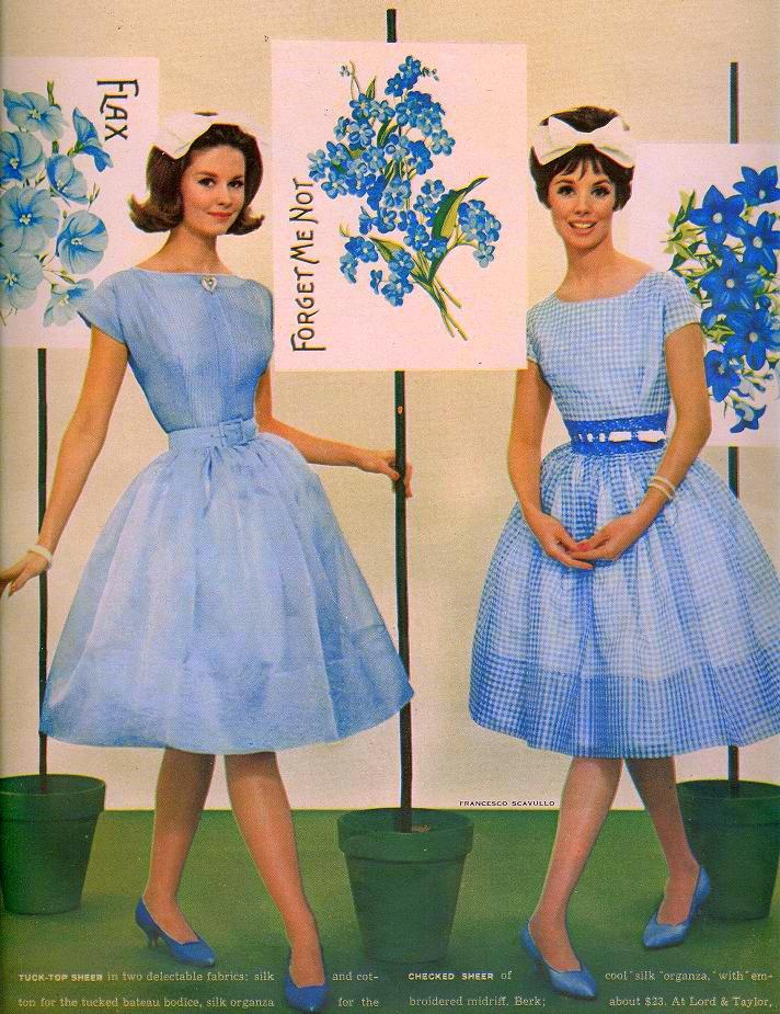 Blue dresses and white bows, 1950s