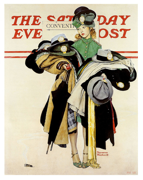 Hat and coat check girl, illustration by Norman Rockwell