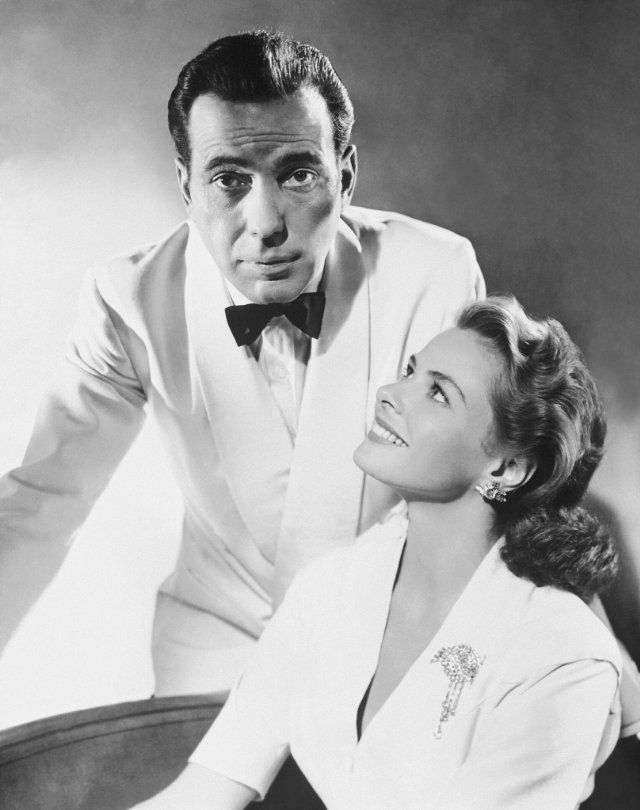 "Humphrey Bogart and Ingrid Bergman in a promo shot for ""Casablanca"", 1942"