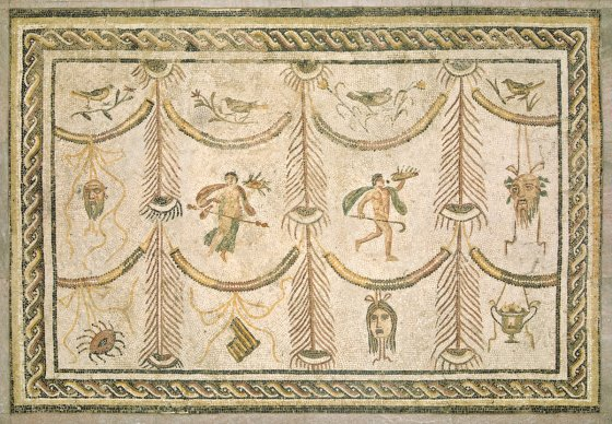 Roman 3rd Century, Symbols of Bacchus as God of Wine and the Theater, , c. 200/225 A.D., mosaic, marble, and glass, Given to the National Gallery of Art for the American People from the People of Tunisia
