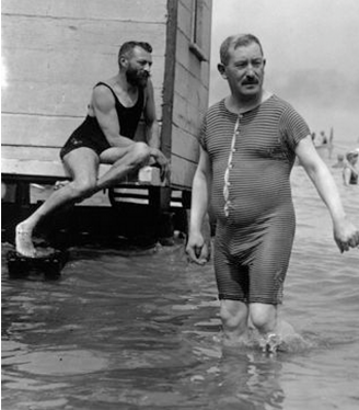 Vintage men at the beach