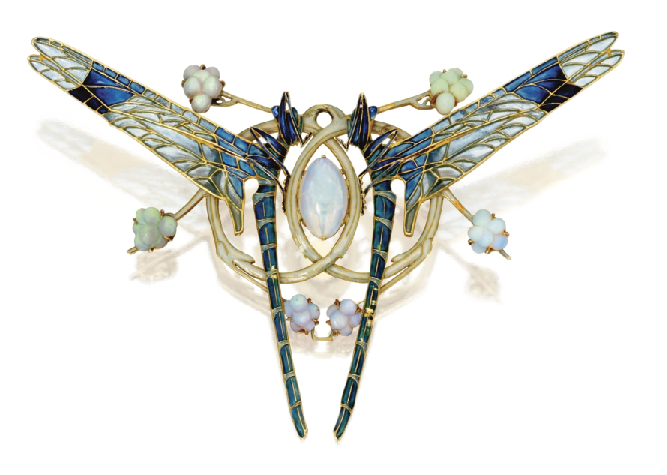 Art Nouveau double dragonfly brooche by Lalique, 1903-1904