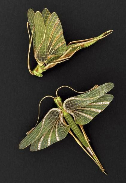 Art nouveau locust hair bling, circa 1900