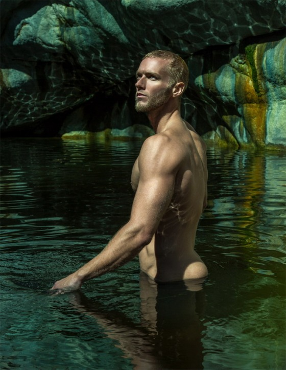 Model Matt Hooper shirtless in pond water photographed by David Daigle at Hermit falls in Arcadia, CA 2016