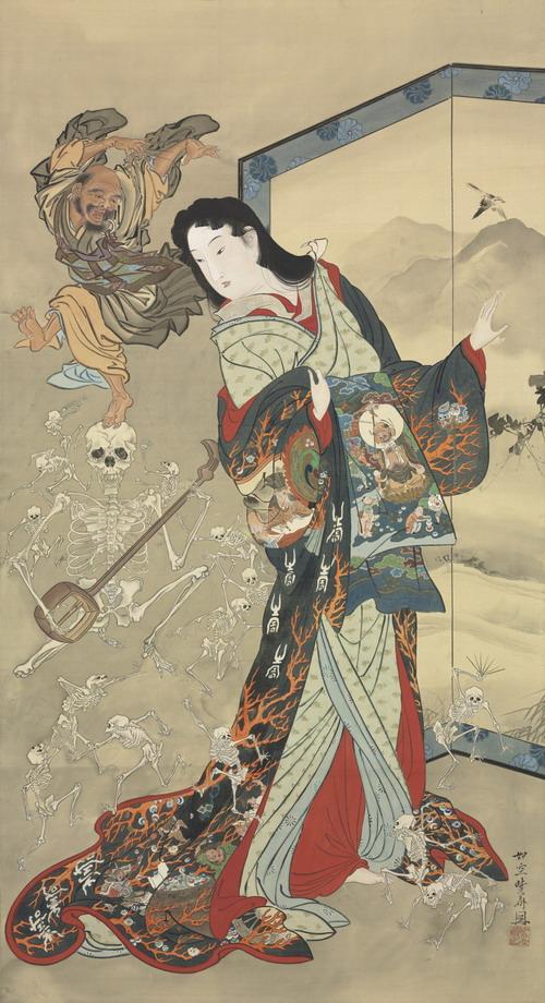 Kawanabe Kyōsai (1831-1889), 'Hell Courtesan & Ikkyū', 1871-89