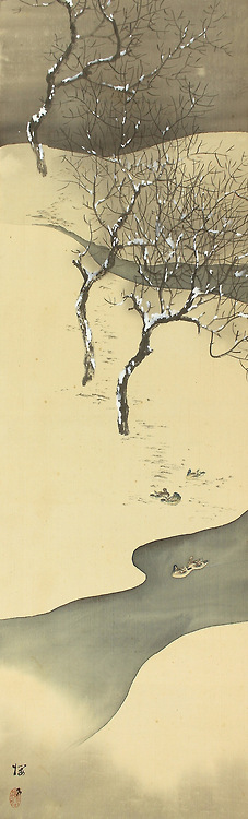 Japanese Art: Snowy scene with ducks