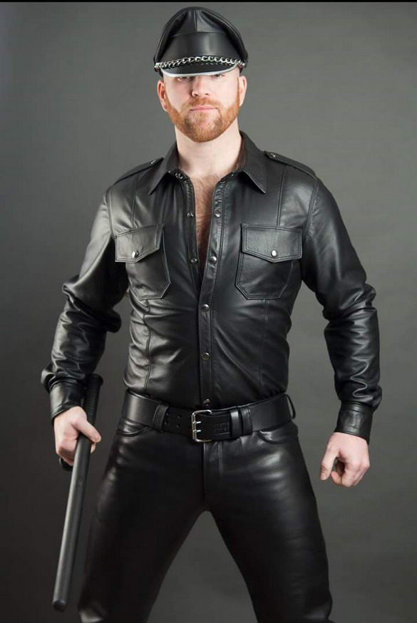 Model in leather