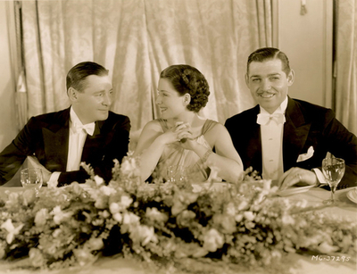 ?, Norma Shearer, and Clark Gable at one of the first Academy Awards/Oscars, circa 1930