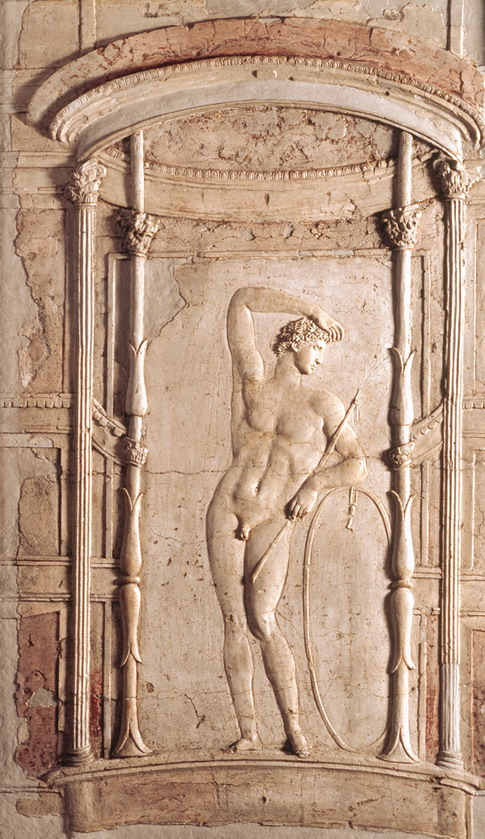 Relief of an athlete with a hoop