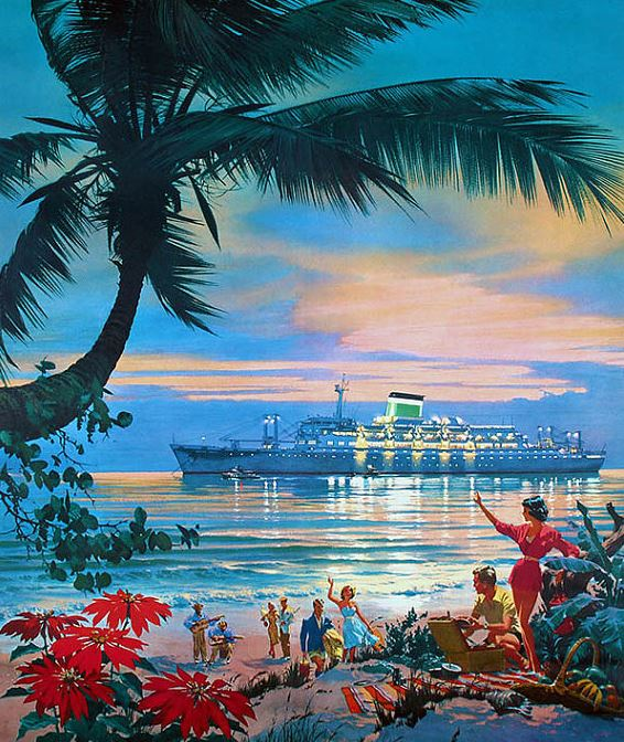 Illustration from an ad for Grace Lines Pacific cruises,1950s