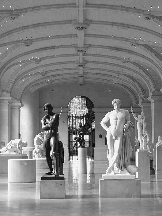 Statue hall in a museum in Lille, France