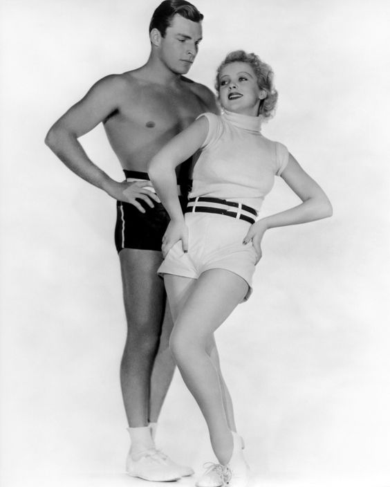 Shirtless Buster Crabbe with Ida Lupino,1930s