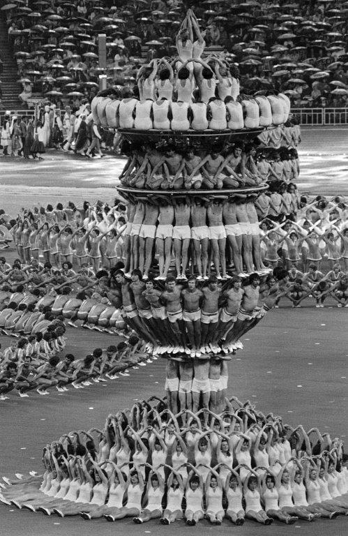 Practicing for the opening ceremonies of the Moscow Olympics, 1980
