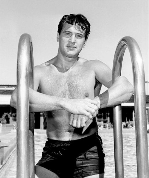 Shirtless Rock Hudson at the pool