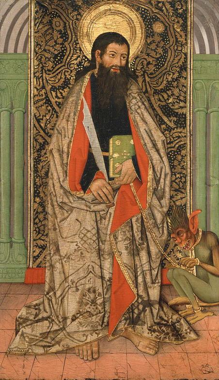 Saint Bartholomew and his pet demon, Artist Unknown, Spanish, 15thCentury