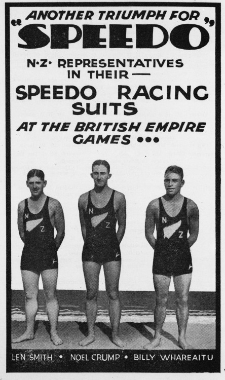 Another triumph for Speedo, New Zealand at the British Empire Games,1920s