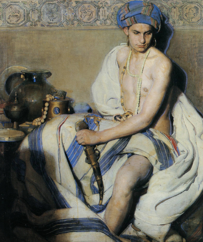 """A Turbanted Oriental"" by Gabriel Raya Morcillo, 1912"