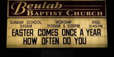 Holiday sign at a Baptist church