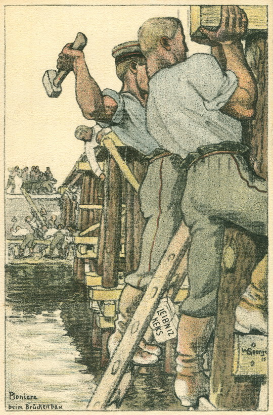 Feldpost Pioniere beim Brückenbau,1915