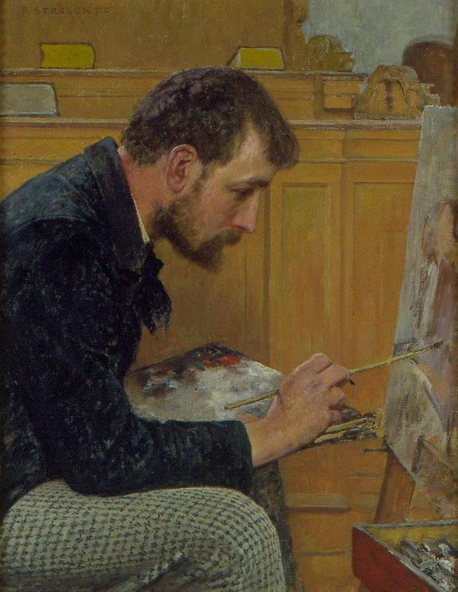"""Portrait of an Artist in Profile"" by Fritz Strobentz, 1884"