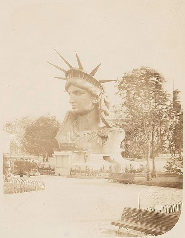 The head of the Statue of Liberty on display in Paris before final assembly and shipping to the US