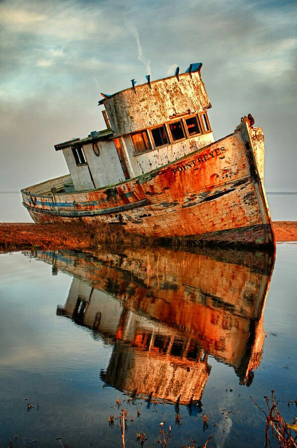 Abandoned boat, California