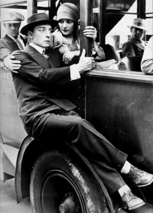 Buster Keaton bumming a ride