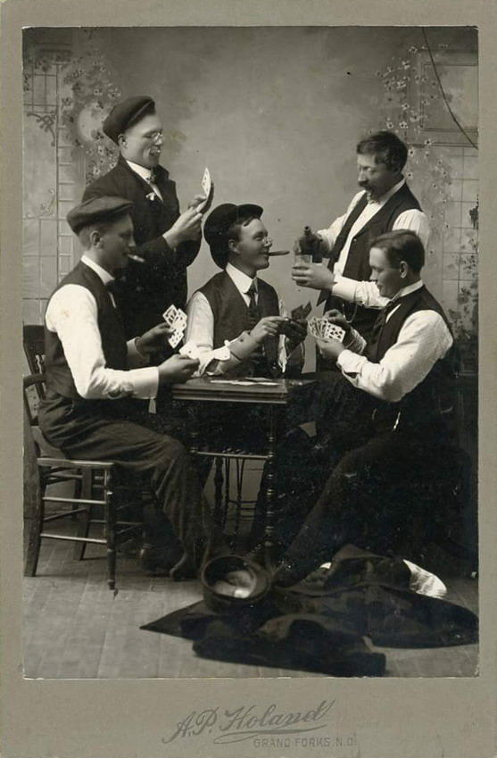 Men playing cards, North Dakota, 1800s