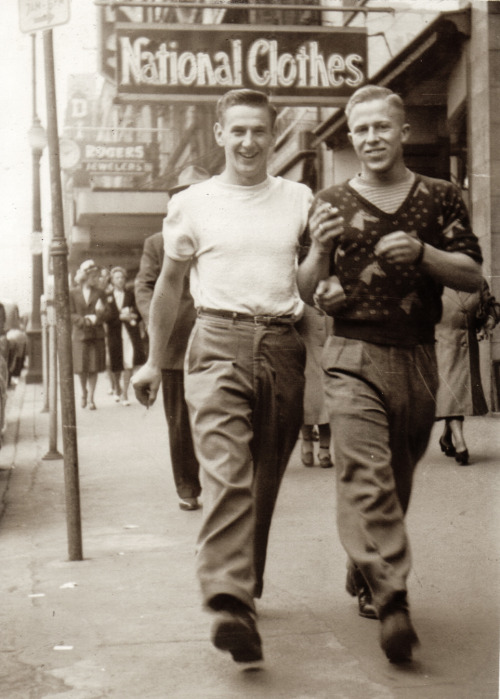 Vintage Men Together – walking down the street arm in arm way before it was even remotely acceptable in public