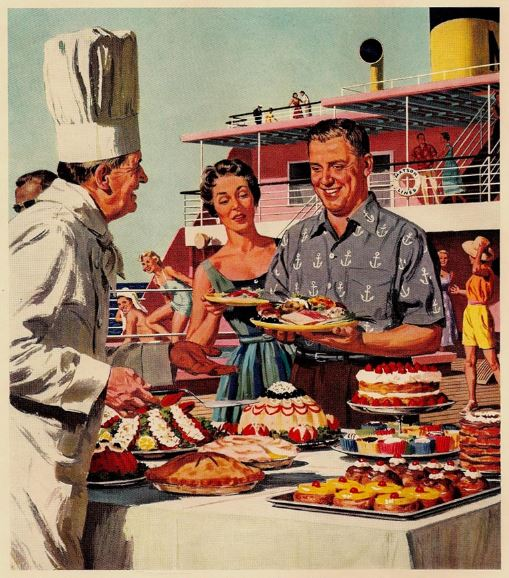 Cruise ship buffet, 1950s