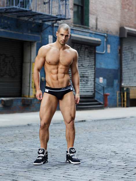 Model Todd Sanfield standing in the middle of the street in his underwear