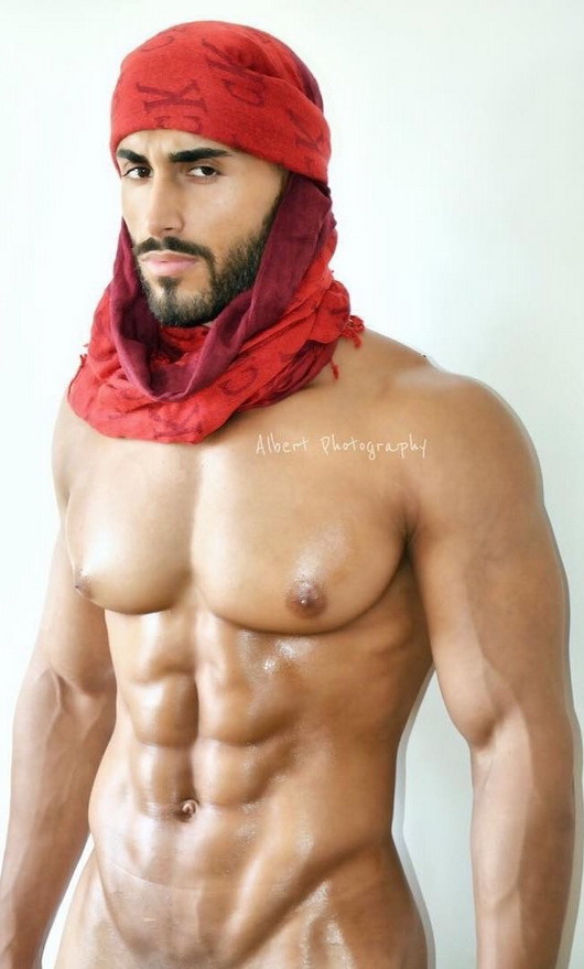 Gratuitous Shirtless Arab, with designer head wrap