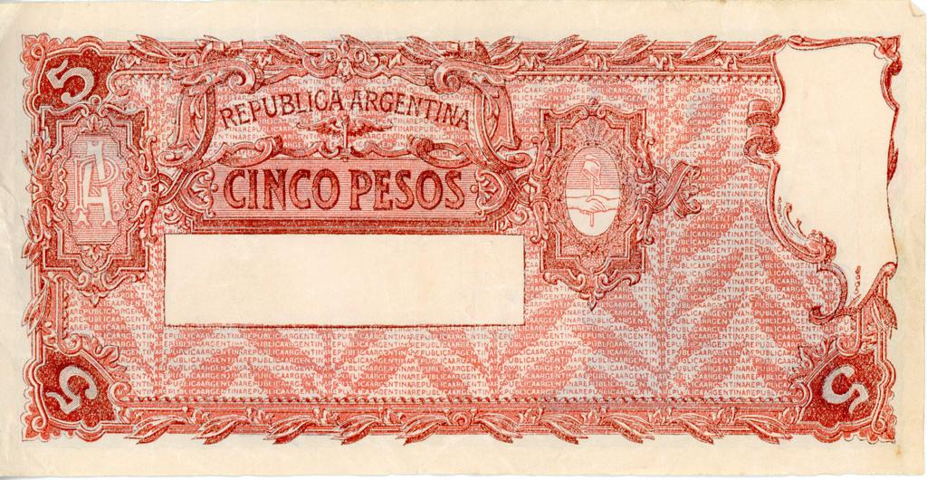 Cinco pesos, Republica Argentina,1930s