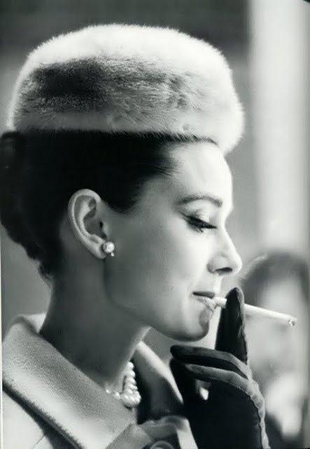 Audrey Hepburn having a smoke, early1960s