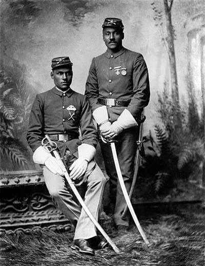 A couple of African-American US Army soldiers stationed in the western territories during the Civil War, 1860s