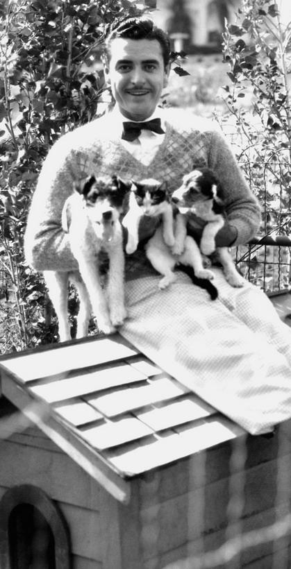 John Gilbert with puppies and akitten