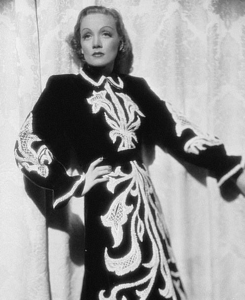 Marlene Dietrich wearing, I believe, a Schiaperelli dress