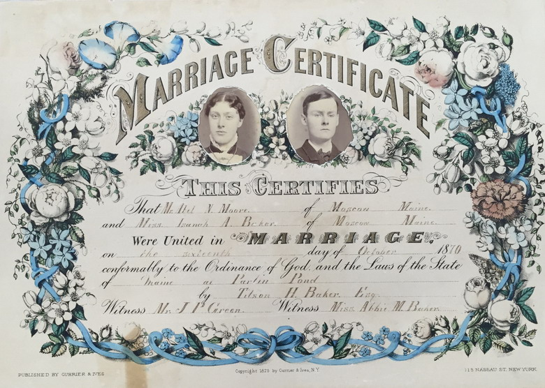Marriage Certificate, Maine,1870