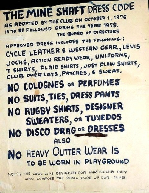 The Mine Shaft dress code, 1979